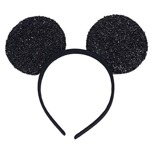 NiuZaiz 1pc Mickey Minnie Black Glitter Sequin Mouse Ears Party Decorations (Black Sequin)