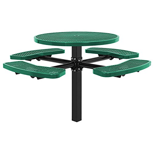 46″ Round Picnic Table, In-Ground Mount, Green