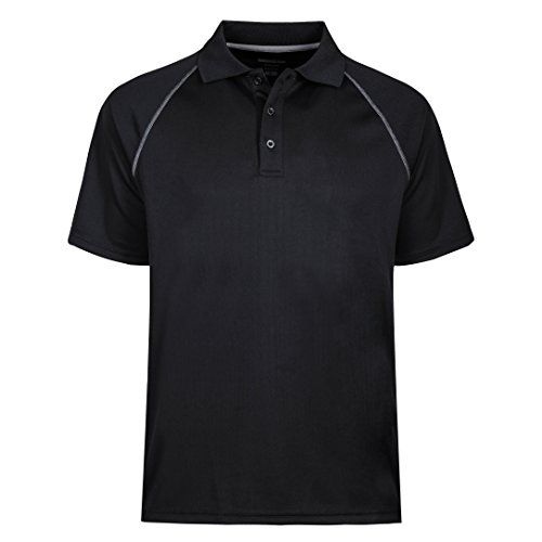 MOHEEN Men's Big and Tall Advantage Performance Solid Polo (L,Black) (Mesh Solid Shirt)
