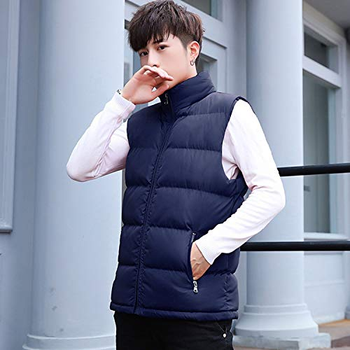 KEBINAI Mens Vest Stand Collar Waistcoats Male Cotton-Padded,Black,XL