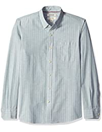 Men's Slim-fit Long-Sleeve Pinstripe Chambray Shirt
