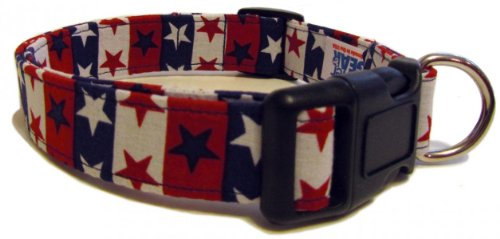 Adjustable Dog Collar in Patriotic Stars and Stripes (Handmade in the U.S.A.), My Pet Supplies