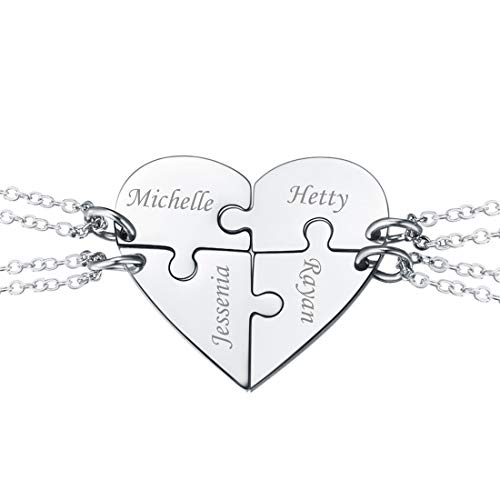 U7 BFF Necklace for 2/3/4 Stainless Steel Chain Personalized Family Love/Friendship Jewelry Set Free Engraving Heart Pendants (Set 4 Stainless Customized)