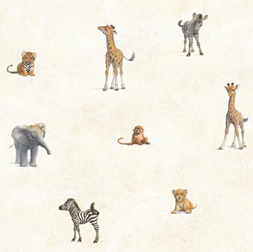 (Chesapeake TOT47131 Mirage Grey Jungle Animal Toss Wallpaper)