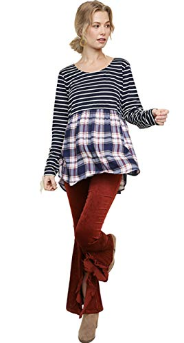 Umgee Womens Striped and Plaid Long Sleeve Babydoll Top with a Scoop Tulip Hem