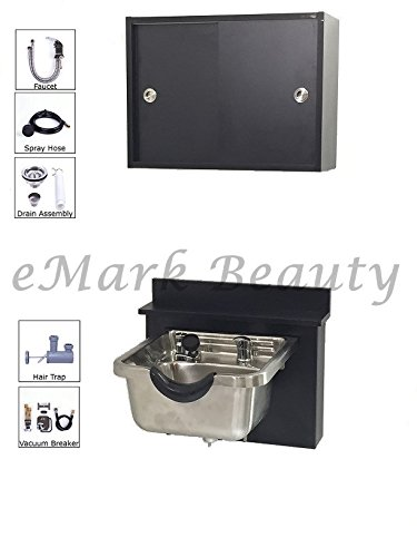 Towel Storage Cabinet Stainless Steel Brushed Shampoo Bowl Sink Black Cabinet TLC-1167-BC16-TC by eMark Beauty