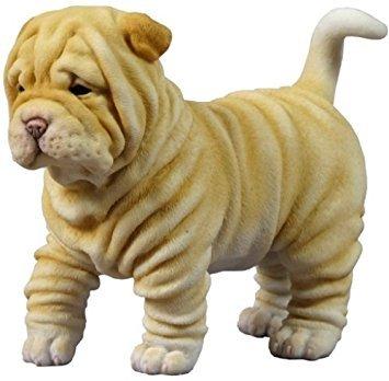 4.75 Inch Shar Pei Puppy Decorative Statue Figurine, Tan and White