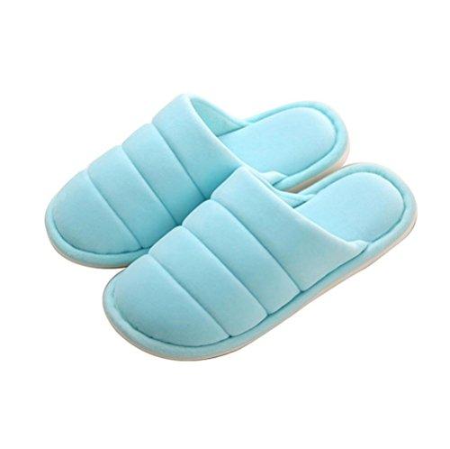 mhgao Ladies Home antideslizante suave Zapatillas en la Final de otoño y invierno interior algodón sandalias azul