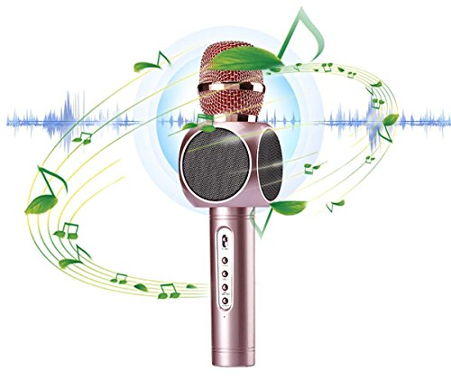 Acekool Wireless Karaoke Microphone & Speaker for Music Playing and Singing Anytime, 3 in 1 KTV Machine for Camping Activity ,Smule Sing,Youtube, IPhone Android Smartphone and PC (Golden) by Acekool