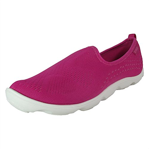 (Crocs Women Duet Busy Day Xpress Mesh Skimmer Shoes, Candy Pink Lemonade, US 7)