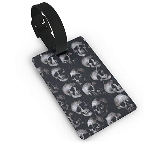 Scary Skulls Dark Pattern Halloween Suitcase Luggage Tags Travel Baggage Name ID Labels Tags Rubber Strap, Set of 5 -