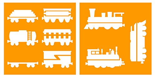 Auto Vynamics - STENCIL-TRAINS-10 - Train Engines & Cars Stencil Set - Featuring Multiple Engines & Different Cars! - 10-by-10-inch Sheet - (2) Piece Kit - Pair of Sheets