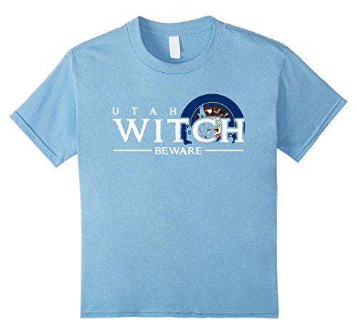 Utah Costumes (Kids Utah Witch Beware T-shirt Funny Halloween Costume 8 Baby Blue)