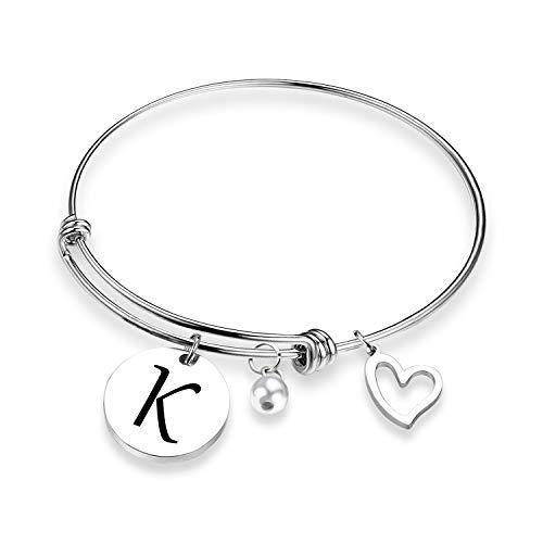 EIGSO Initial Bracelet Letter Bracelet with Heart Charm Memory Bracelet Jewelry Gift for her (BR-K) ...