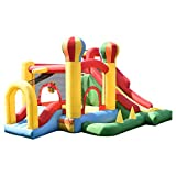 Costzon Inflatable Bounce House, Mighty Balloon Slide Bouncer Kids Jump w/ Basketball, 50 PCS Balls Without Blower