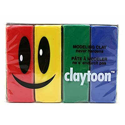 Claytoon 228051 Oil Based Modeling Clay Set, 4 Assorted Colors: Industrial & Scientific