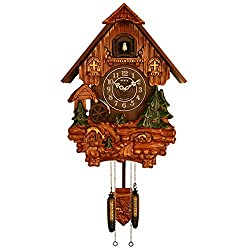 Sinix SN613AC Handcrafted Antique Wooden Cuckoo Pendulum Wall Clock, Brown