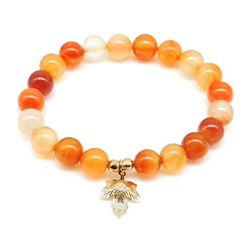 (Yellow red Natural Gemstone Bracelet Maple Leaf Lucky Charm Stretch Bracelet )