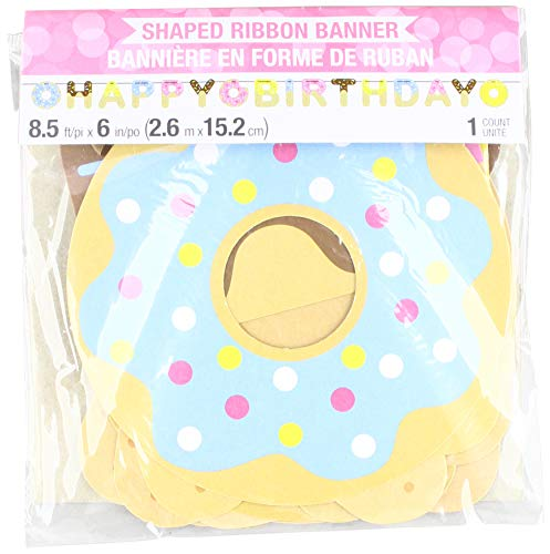 Creative Converting 324234 Donut Happy Birthday Ribbon Banner Party Supplies, 6