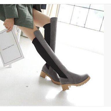 Botas de la mujer Confort Suede Tulle Primavera confort informal Gris negro 1A-1 3/4 pulg. Black