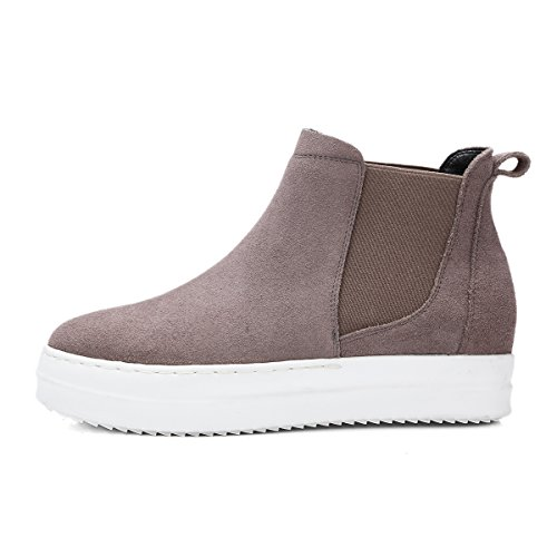 High Plateforme Cuir Boots Roseg Bottes Top Gris Mode Chelsea Femmess xwnYn5p8qt