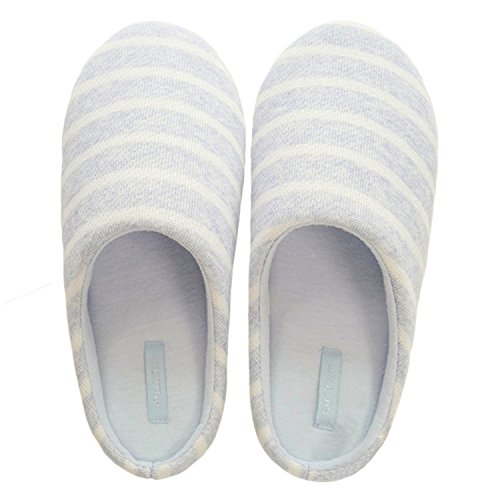 bestfur Womens Concise Stripe Soft Warm Comfortable Mute Home Slippers Grey NzhKt31oN6