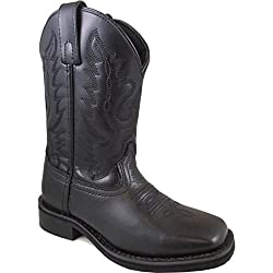 Smoky Mountain Boys' Outlaw Leather Cowboy Boot Square Toe Black 3 D