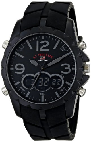 U.S. Polo Assn. Sport Men's US9287 Watch with Black Rubber (Dial Flag Bezel)
