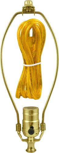 "GE 50960 3-Way Lamp Kit, Extra Long 8 Ft Clear Gold Cord, 10"" Gold Harp, DIY Lamp Wiring Parts, 250VAC, 250W, UL Listed, Yellow"