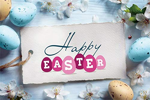 Laeacco Vinyl 10x7ft Happy Easter Day Photography Backdrops Hang Tag Colorful Easter Eggs Beautiful White Flowers Ladybird Wood Plank Background Festival Greeting Card Child Adult Portraits Prop (Tags Hang Easter)