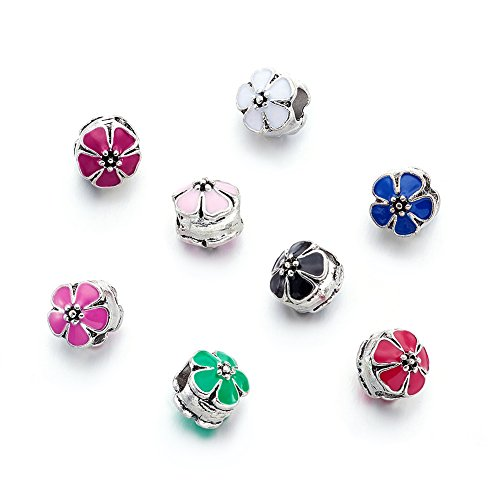Large Flower Spacer - Beadthoven 50pcs Alloy Enamel Flower European Beads with Large Hole Style Dangle Charms Beads for Making Jewelry Bracelet, Antique Silver
