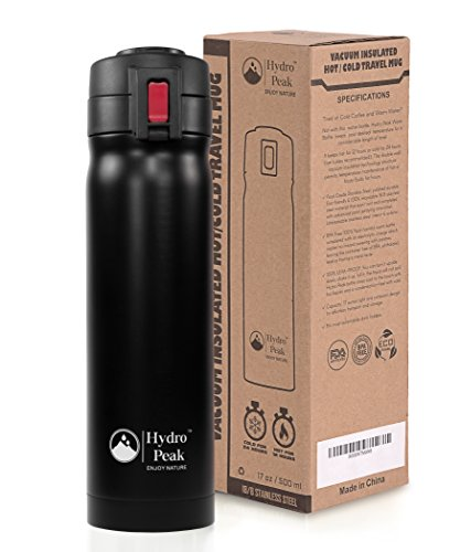 Hydro Peak 17oz Double Wall Vacuum Insulated 304 Stainless Steel Coffee Travel Mug, One Touch Lock Lid Thermos Water Bottle, Keeps Drinks Hot for 12 Hours and Cold for 24, Color Black