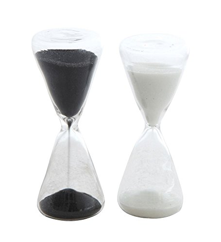 Decorative Hourglass Black and White 4 inch Glass Collectible Figurines Set of 2