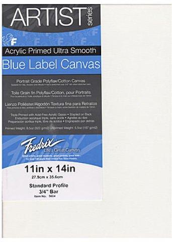 Fredrix Blue Label Ultra-Smooth Portrait Grade Pre-Stretched Artist Canvas (11 In. x 14 In.) 1 pcs sku# 1841364MA