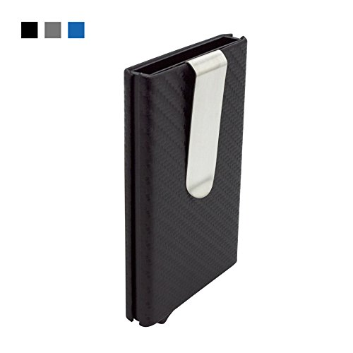 Mosiyeef Aluminum RFID Blocking Automatic Pop-Up PU Leather Imitation Carbon Fiber Wallet Card Case Holder Money Clip