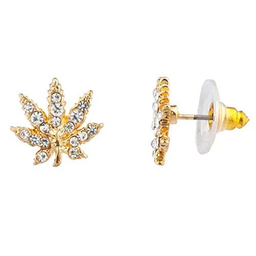Lux Accessories Marijuana Leaf Pave Crystal 420 Weed Pot Stud Earrings