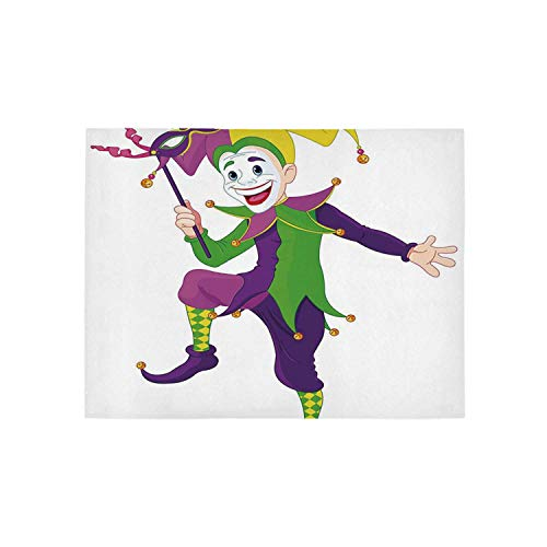 Mardi Gras Utility Area Rug,Cartoon Style Jester in Iconic Costume with Mask Happy Dancing Party Figure for Home,31