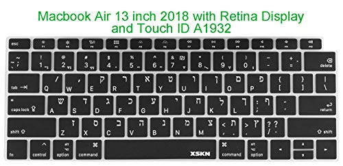 "XSKN Hebrew/English Language Keyboard Silicone Cover Skin Compatible MacBook Air 13"" 13.3-inch (A1932, 2018 Release) with Touch ID Retina Display - Black, US Layout"