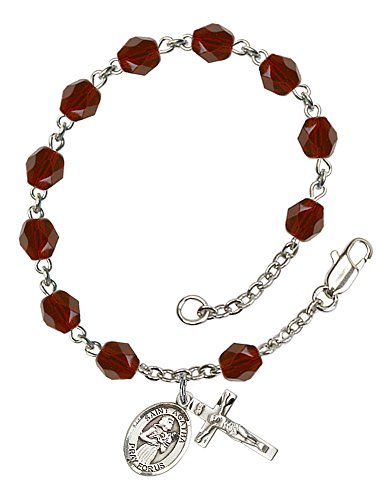 Garnet Rosary Crucifix - Silver Plate Rosary Bracelet features 6mm Garnet Fire Polished beads. The Crucifix measures 5/8 x 1/4. The charm features a St. Agatha medal.