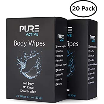 Shower Body Cleansing Wipes - New Pure Active 20 Individually Wrapped Personal Hygiene Wipes. 2 Pack x10 Extra Large Perfect Solution to Keep Clean After Gym Travel Camping Outdoors Sports Survival