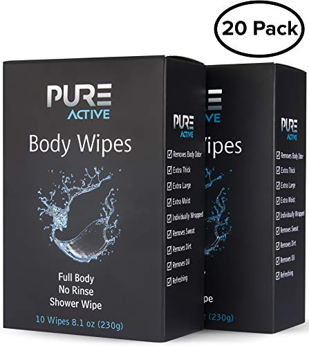 (Shower Body Cleansing Wipes - New Pure Active 20 Individually Wrapped Personal Hygiene Wipes. 2 Pack x10 Extra Large Perfect Solution to Keep Clean After Gym Travel Camping Outdoors Sports Survival)