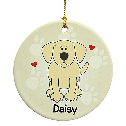 Lab Baby Christmas Ornament - Larmai Yellow Lab Personalized Round Christmas Ornament Home Gift Christmas Decorations Ideas