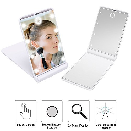 yiiyaa Vanity Mirror LED Lighted Makeup with 8Pcs Dimmable 330 Adjustable Cosmetic Touch Screen Travel Compact Mirror (White) Solam