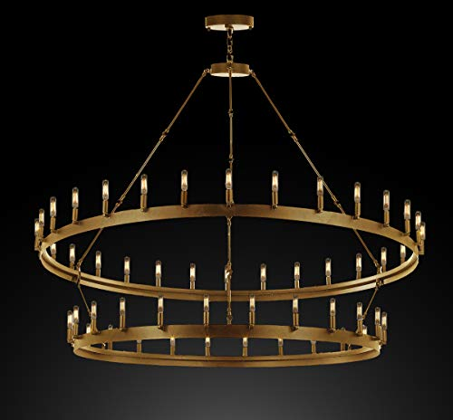 """Wrought Iron Vintage Barn Metal Castile Two Tier Chandelier Chandeliers Industrial Loft Rustic Lighting W 63"""" H 60"""" in a Brushed Brass Finish!"""
