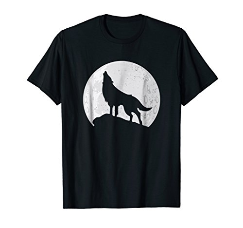 Mens Wolf T-Shirt - Wolf Howling Moon Tee Medium Black