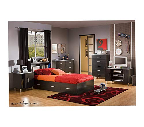 Wood & Style Furniture Cosmos Collection 6-Drawer Double Dresser Black Onyx and Charcoal with Brushed Nickel Handles Premium Office Home Durable Strong