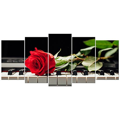 Wieco Art Red Rose on Piano Large Modern 5 Piece Gallery Wrapped Floral Giclee Canvas Prints Artwork Flowers Music Pictures Paintings on Canvas Wall Art for Bedroom Kitchen Home Decorations L ()