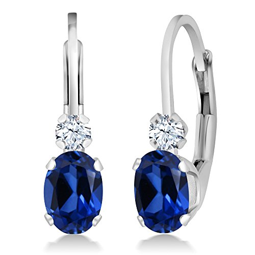 1.44 Ct Blue and White Created Sapphire White 925 Sterling Silver Leverback Earrings