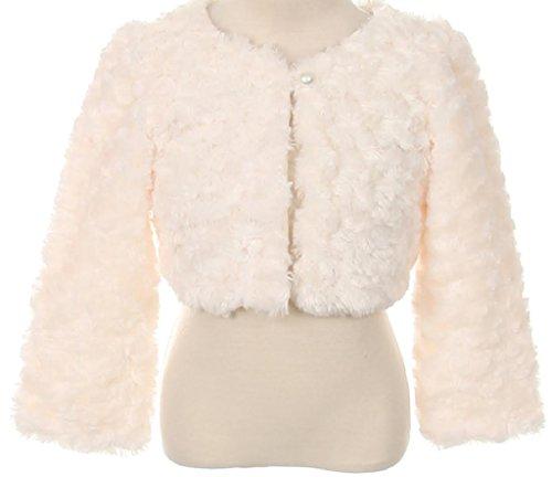 Big Girls' Faux Cuddle Fur Long Sleeve Pearl Bolero Jacket Ivory 8 (K33D0)