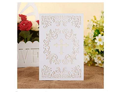 Religious Invitations Printable (Baptism Christening Invitations with Envelopes, 25pcs 4.7 x 7 Religious cross cards with Ivory Inside Paper for Christening Celebration, Religious Ceremony, Christian Dedication,baby shower (White))